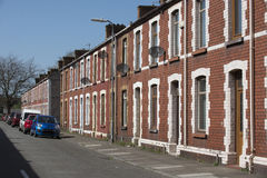 Old Welsh terraced houses. Row of terraced houses in Port Talbot Wales UK Royalty Free Stock Images