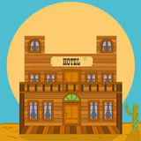 Old west building - hotel. Vector illustration of an old western building - bank office royalty free illustration