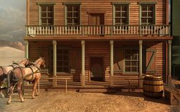 Old West building. Old West scenery with building and horses vector illustration