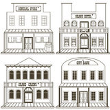 Old west buildings outlined 2. Vector illustration collection of an old west buildings: general store, hotel, grand casino and a city bank, outlined stock illustration