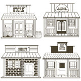 Old west buildings outlined. Vector illustration collection of an old west buildings: store, saloon, sheriff, post office vector illustration