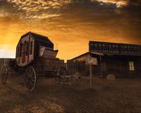 Old west 3D illustration, carriage and house at sunset. 3D illustration of Old west scene , carriage and house at sunset vector illustration