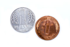 Old west and east german coins, pfennig Royalty Free Stock Image