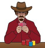 Old West Gambler. An old west card player is studying both his hand and his opponent vector illustration