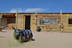 Old west Hualapai staged business establishment. Hualapai business establishment staged for visitors entertainment and familiarization with the historical royalty free stock photos