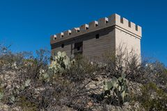 An old west jail near Elephant Butte Lake in New Mexico. This is an old west jail near Elephant Butte Lake in southwest New Mexico scenic usa castle close-up stock image