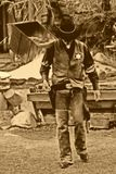 Old West-Marshall Walks Alone. Old west Marshall walks alone to protect his town Stock Photography
