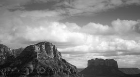 Old West Mountains. Old west Black and White Picture of the Sedona Red Rock Mountains stock photo
