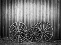 Old west, old broken wood wheels Royalty Free Stock Photography