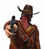 Old West Outlaw - Your Money or Your Life. An old west outlaw is aiming his gun at you - 3d render stock illustration