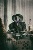 Old West Poker Skeleton Dead Mans Hand Royalty Free Stock Photography