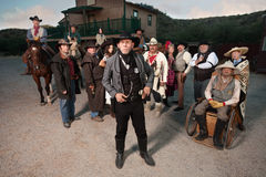 Old West Sheriff and Group of People Royalty Free Stock Photography