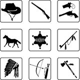 Old West symbols. Old west black and white silhouettes in a nine square grid stock illustration