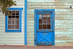Old West-Textures. Old Western building-weathered door and window Royalty Free Stock Photos