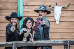 Old West Trio Yells Stock Photography