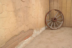 Old West Wagon Wheel Royalty Free Stock Photography