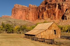Old western barn and ranch. Gifford barn at the Fruita Oasis in Capitol Reef National Park, Utah Stock Image