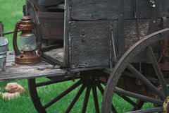 Old Western Chuck wagon. The spirit of the old west is captured in this cowboy wagon and lantern Stock Photos