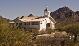Old Western Church. This is a picture of an old western church and cemetery preserved outside of Tucson Stock Photography