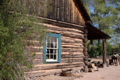 Old Western Cowboy Log Cabin. Old wild west cowboy log cabin at Southwest desert ranch Stock Images