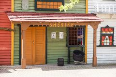 Old western ghost town wooden sheriff house stock photos