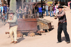 Old Western Gunfight stock photography