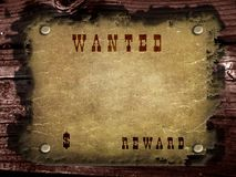 Old western paper on wood wall Royalty Free Stock Images