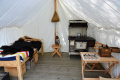 Old Western Prospector's / Trader's Tent. Interior of tent with items in an old historic western prospector's / trader's camp Stock Photography