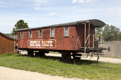 Old western railway wagon Central Pacific. Stock Photos