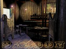 Old western saloon. View of the entrance to an old western saloon, with several tables, a counter, a mirror on the wall. The word Saloon at the bottom of the Stock Images