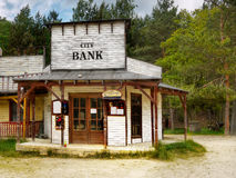 Old western saloon and bank Royalty Free Stock Images