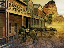 Old western street. View of the street of a western town with several edifices, a cart, and horses waiting outside. The wind is blowing sand through the street vector illustration