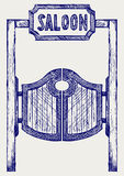 Old western swinging saloon doors. Doodle style Stock Photography