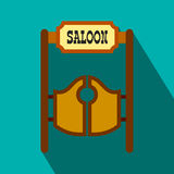 Old western swinging saloon doors flat icon Royalty Free Stock Photography