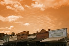 Old Western Town. At Sunset Royalty Free Stock Image