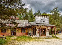 Old western town. And City Bank, Attraction near Boskovice town. Czech republic royalty free stock photo