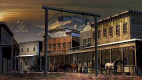 Old western town close to mountains stock illustration