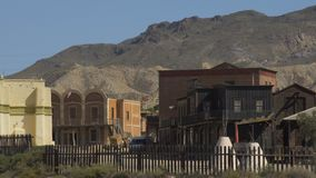 Old Western Town Film Set at Mini Hollywood Spain.  stock footage