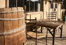 Old Western town general store. With flour barrel and checkerboard table stock images