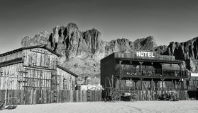 Old Western Town. An old western town located in front of the Superstition Mountain, located in the American Southwest, east of Phoenix, Arizona Stock Image