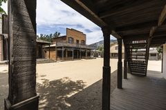 Old Western Town Movie Set Buildings. Historic movie set buildings owned by US National Park Service at Paramount Ranch in the Santa Monica Mountains National Stock Photos
