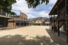Old Western Town Movie Set Street. Small historic movie set street owned by US National Park Service at Paramount Ranch in the Santa Monica Mountains National Stock Image