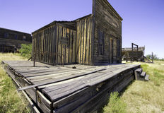 Old Western Town Movie Studio Sidewalk. Old wild west American Western town movie studio set home buildings. Arizona movie set used for Tombstone, The Quick and Royalty Free Stock Photo