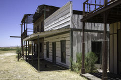 Old Western Town Movie Studio Sidewalk. Old wild west American Western town movie studio set home buildings stock photo