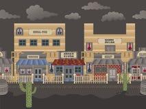 Old western town tillable - night. Vector illustration of an old western town horizontal tillable background - night stock illustration