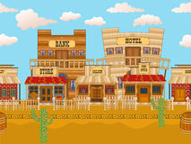 Old western town tillable. Vector illustration of an old western town horizontal tillable background stock illustration