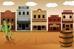 Old western town. A vector illustration of old western town