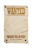 Old western wanted sign isolated. Stock Photo