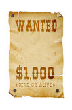 Old western wanted sign isolated. Stock Photography