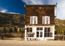 Old Western Wooden Building in St. Elmo Gold Mine Ghost Town in Colorado. USA hidden in mountains royalty free stock photography